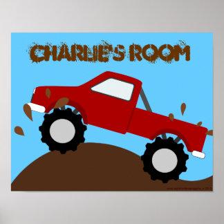 Affiche personnalisée boueuse de camion de monstre posters