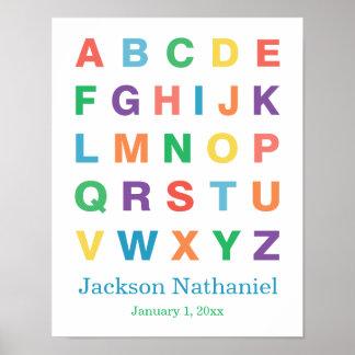 Affiche personnalisée d alphabet pour des bébés