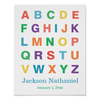 Affiche personnalisée d'alphabet pour des bébés