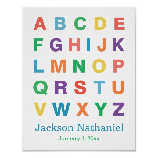 Affiche personnalisée d'alphabet pour des bébés