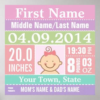 Affiche personnalisée de stat de naissance de bébé