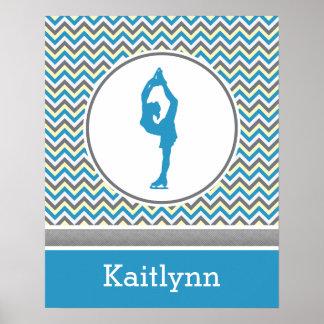 Affiche personnalisée par patineur artistique bleu