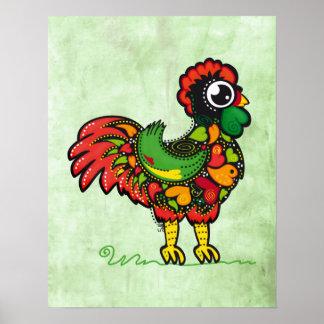 Affiche portugaise d'impression de coq de Barcelos Poster