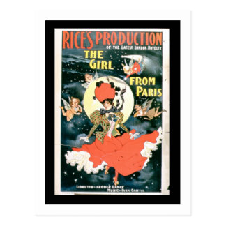 Affiche pour la 'production du riz de la fille du carte postale
