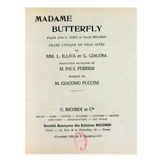 Affiche pour Madame Butterfly par Giacomo Carte Postale