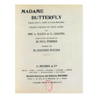 Affiche pour Madame Butterfly par Giacomo Cartes Postales