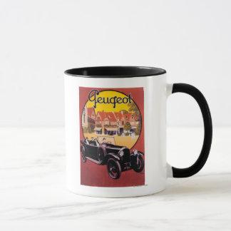 Affiche promotionnelle d'automobile de Peugeot Mugs