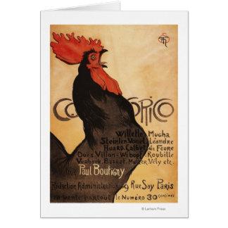 Affiche promotionnelle de coq périodique de cartes