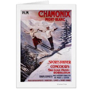 Affiche promotionnelle de ski carte de vœux