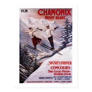 Affiche promotionnelle de ski carte postale
