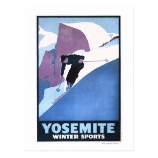 Affiche promotionnelle de ski de sports d'hiver carte postale