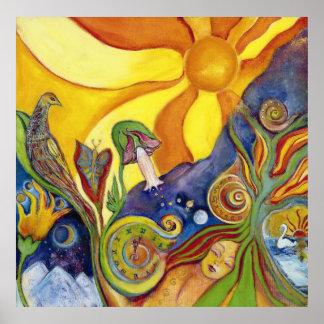 Affiche psychédélique d'art de bruit d'imaginaire