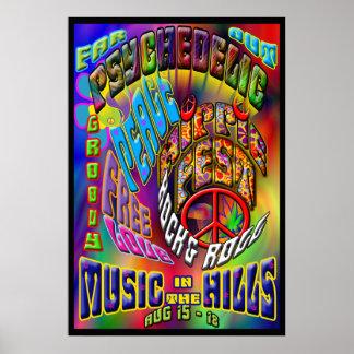 Affiche psychédélique de musique de Hippiefest