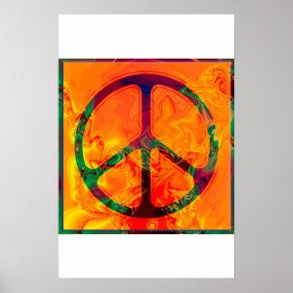 affiche psychédélique de signe de paix posters
