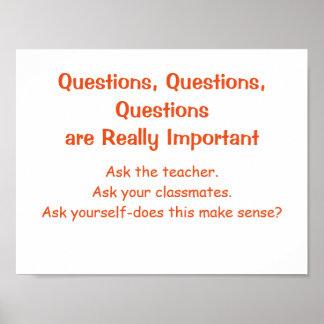 Affiche-Questions de mentalités de maths Poster