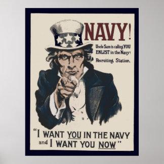 Affiche recruteuse vintage de la marine WW1 Posters