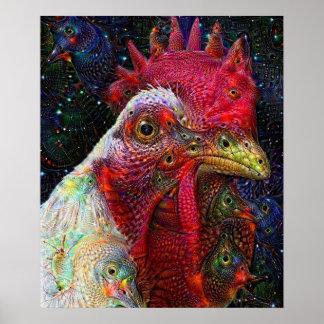 Affiche rêveuse profonde de poulet de l'espace poster