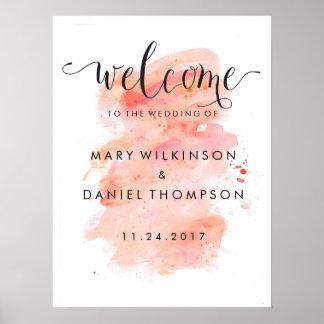 Affiche rose d'accueil de mariage d'aquarelle posters