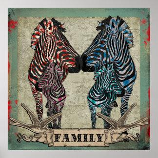 Affiche rose de famille de zèbres