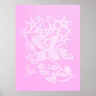 affiche rose de papillon