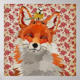 Affiche rose de petit oiseau de Fox rouge