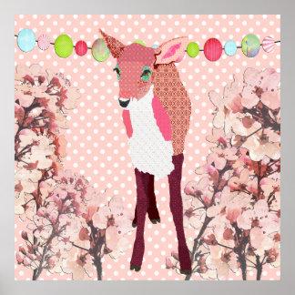 Affiche rose de Pok-un-point de faon de fleurs de