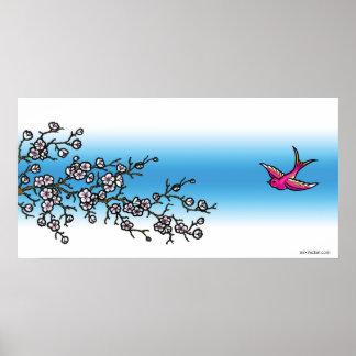 Affiche rose d'hirondelle et de fleurs de cerisier