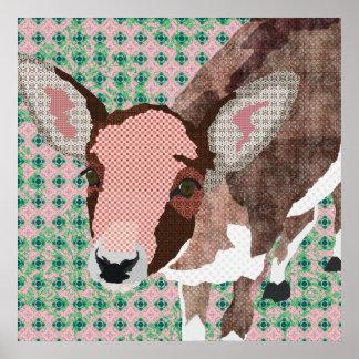 Affiche rose et verte de cerfs communs chéris d'ar