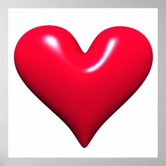 Affiche rouge brillante de coeur