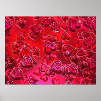Affiche rouge brillante de coeurs