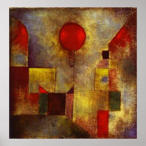 Affiche rouge de ballon de Paul Klee