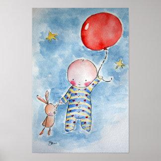 Affiche rouge de Baloon Posters