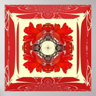 Affiche rouge de fleur de fractale de cadre de Fau Posters