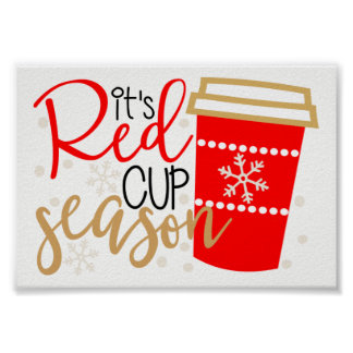 Affiche rouge de saison de tasse poster