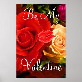 Affiche rouge de Valentine I de rose jaune