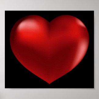 affiche rouge du coeur 3D