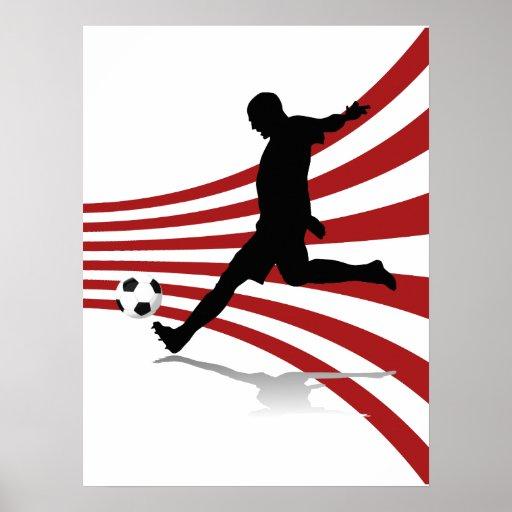Affiche rouge et blanche de footballeur