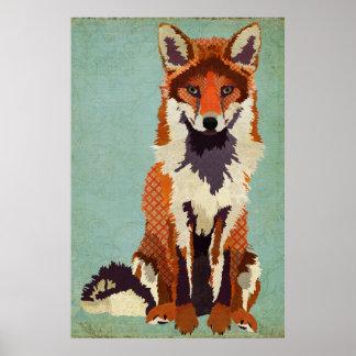 Affiche rouge et violette d'art de Fox