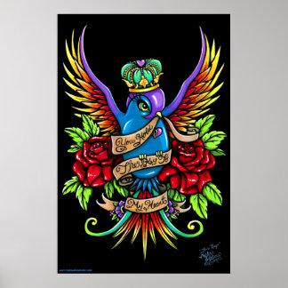 Affiche royale de tatouage d'hirondelle d'arc-en-c