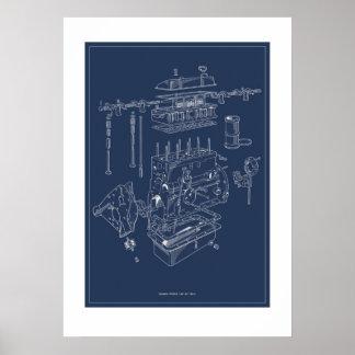 Affiche schématique de moteur de Triumph TR4A - Posters