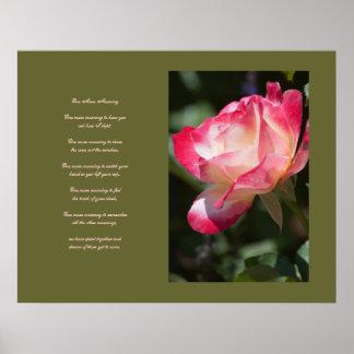 Affiche sensible rose et d'amour de poème