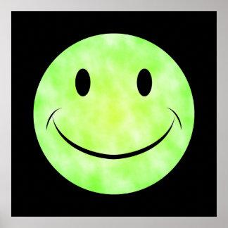 Affiche souriante de visage de colorant vert de cr