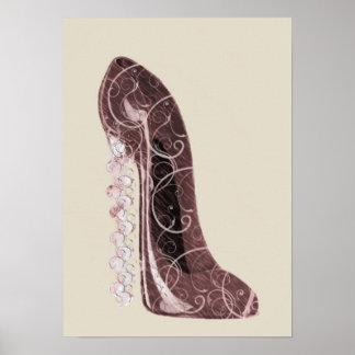 Affiche stylet florale de chaussure de talon de ti