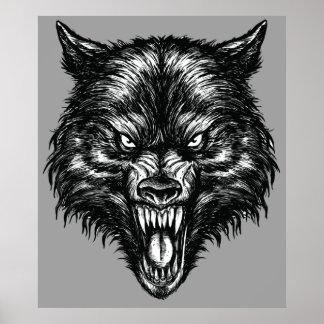 Affiche tirée par la main de loup