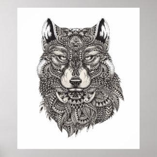 Affiche tirée par la main de loup posters