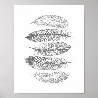 Affiche tribale d'impression de plume grise posters