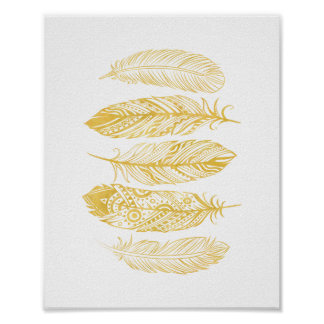 Affiche tribale d'impression de plume jaune