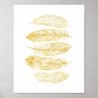 Affiche tribale d'impression de plume jaune posters