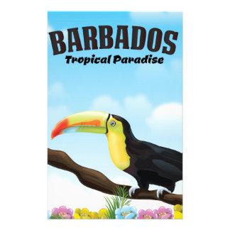 Affiche tropicale de voyage de paradis des Barbade Papier À Lettre Customisable