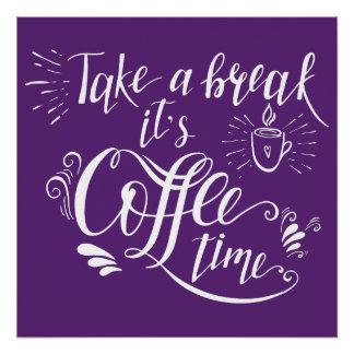 Affiche ultra-violette de signe de café